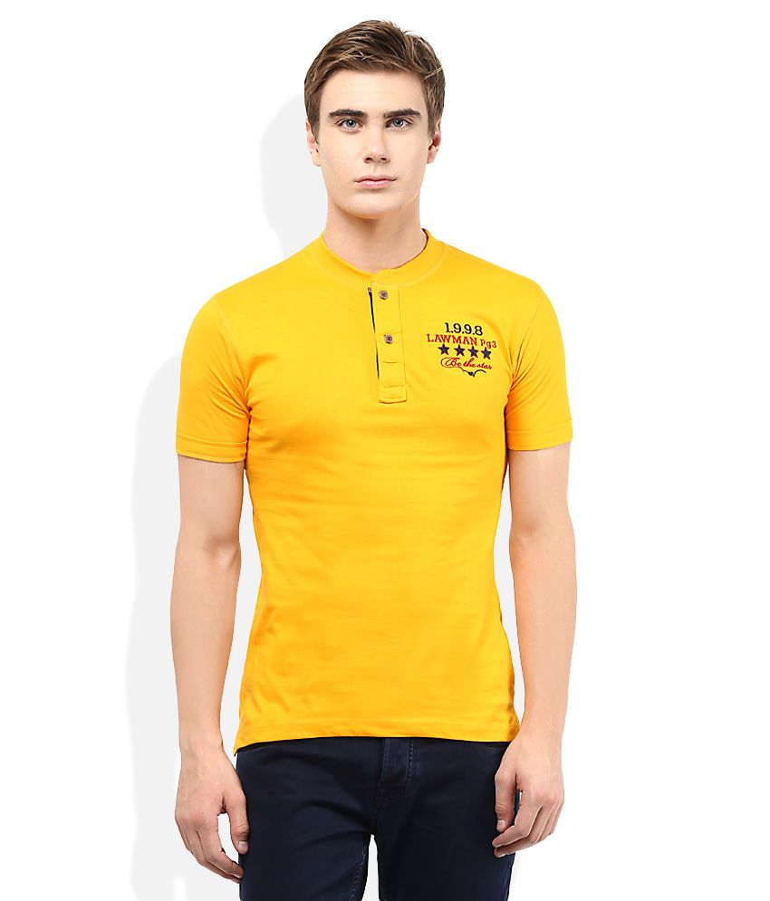 Lawman Pg3 Yellow Solid Henley T Shirt