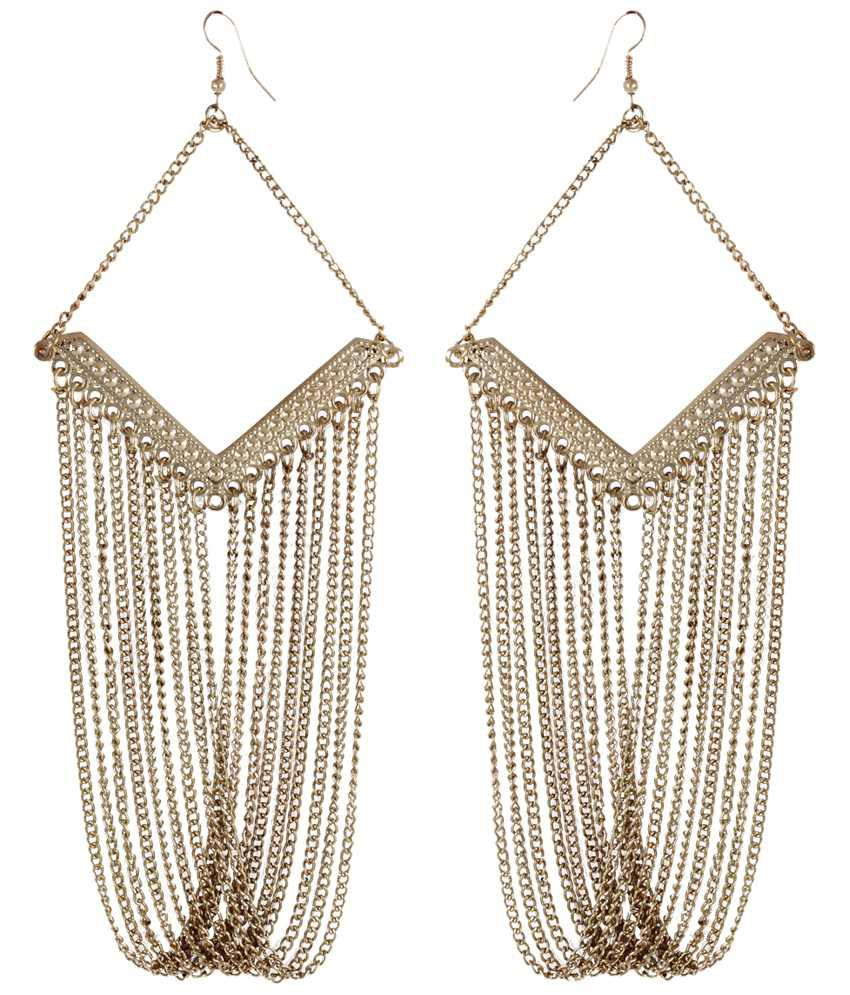 Shining Diva Fashion Golden Contemporary Hanging Earrings