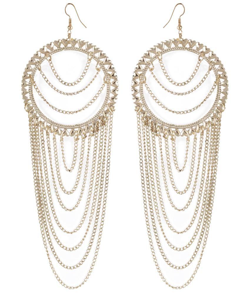 Shining Diva Fashion Golden Hearts Hanging Earrings