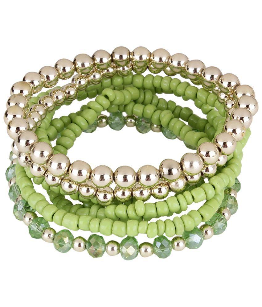 Shining Diva Fashion Green & Silver Daily Wear Bracelet