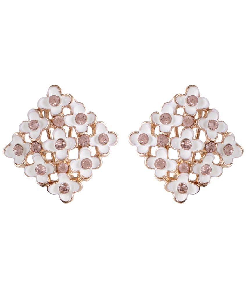 Shining Diva Fashion White & Golden Contemporary Stud Earrings