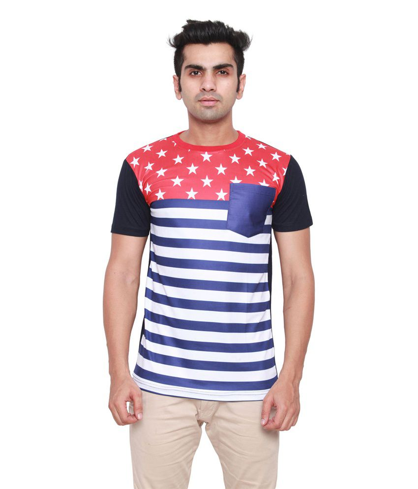 Ddi Multicolor Cotton Round Neck T Shirt