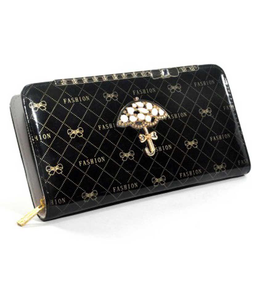 Hyfy Design Black Non Leather Casual Regular Wallet For Women