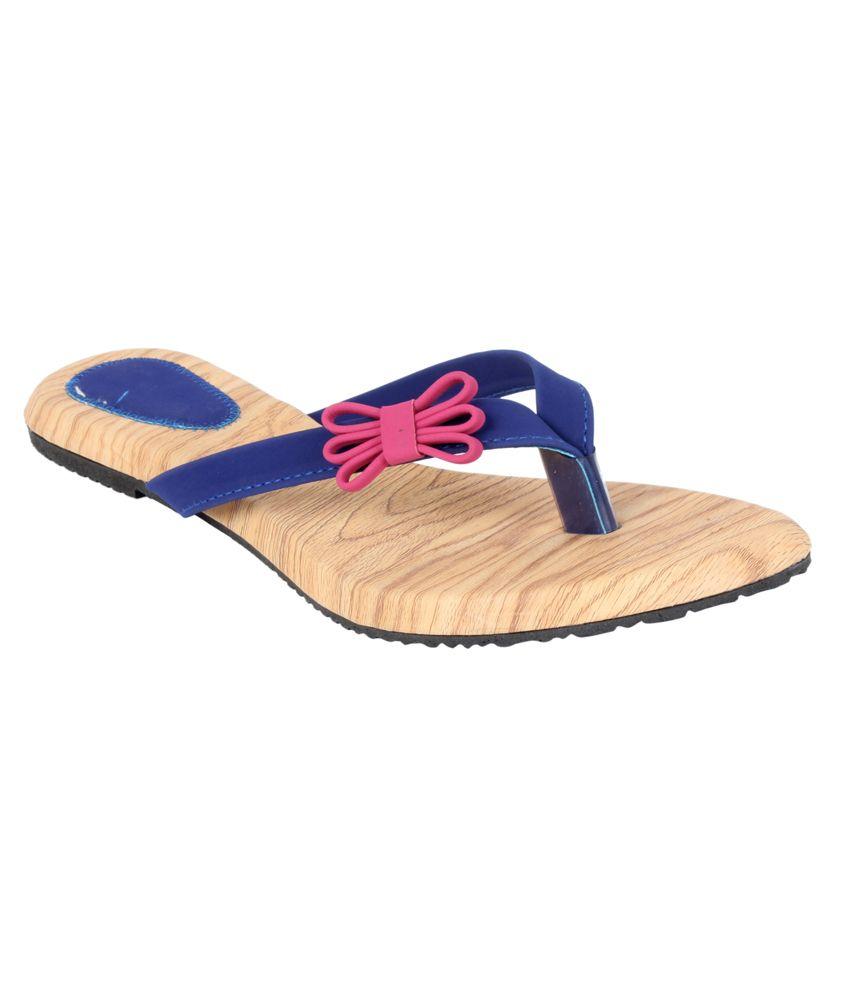 Indirang Blue Flat Slip-Ons