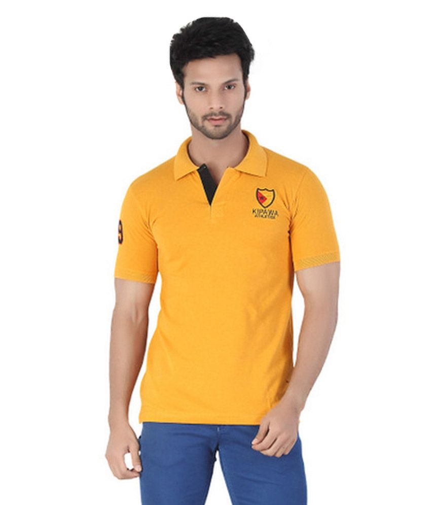 Kkoir yellow half sleeves polo t shirt buy kkoir yellow for Full sleeve polo t shirts