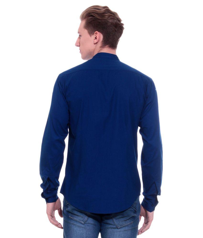 26334ebf3 Zerel Royal Blue Casual Mandarin Collar Shirt - Buy Zerel Royal Blue ...
