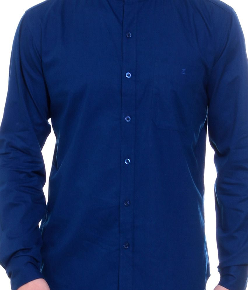 26334ebf3 Zerel Royal Blue Casual Mandarin Collar Shirt - Buy Zerel Royal Blue ...