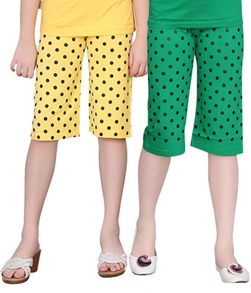 Sinimini Girls Colorful Dot Capri ( Pack Of 2 )