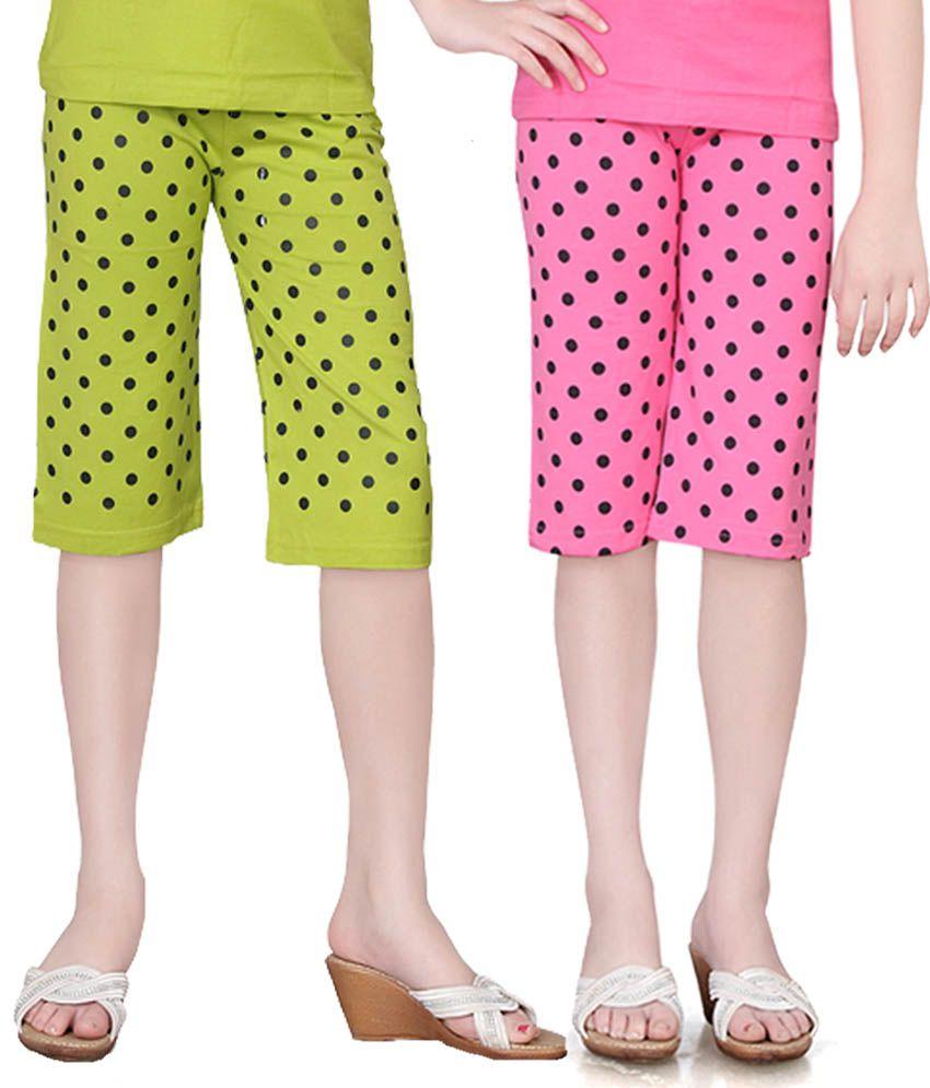 Sinimini Girls Colorful Dot Capri ( Pack Of 2 )