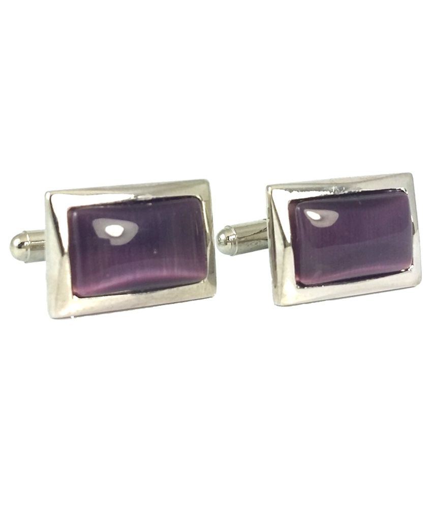 Ammvi Creations Classic Polished Purple Resin and Alloy Exclusive Cufflinks