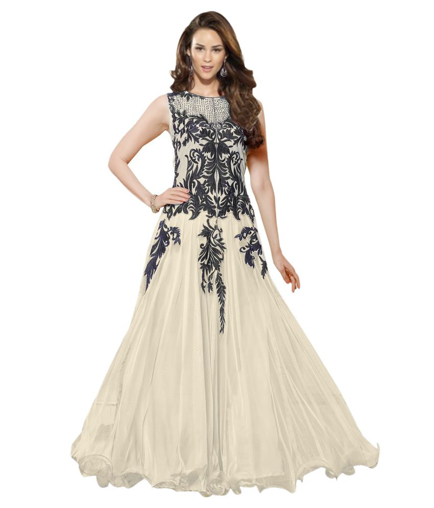 Dulhan Collection White Georgette Gowns - Buy Dulhan Collection ...
