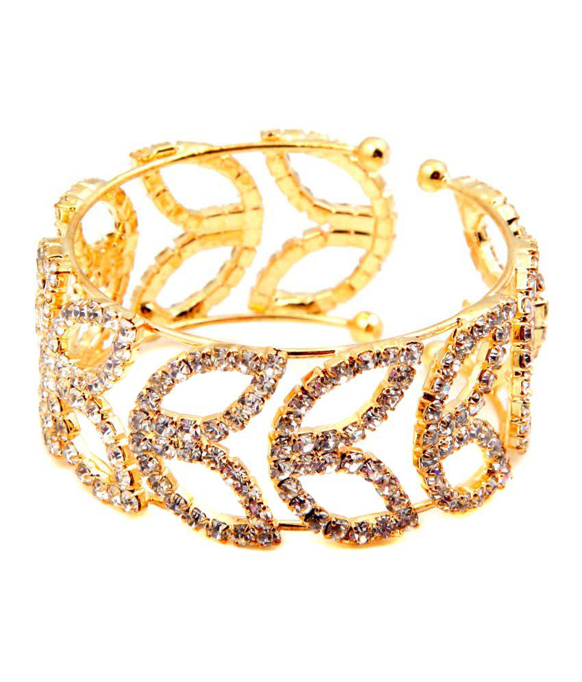 Sanjog Golden Color Stylish Adjustable American Diamond Bracelet ...