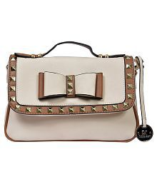 Diana Korr White Faux Leather Sling Bag