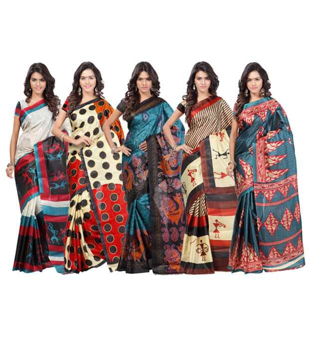 Ambaji Combo of Multicoloured Dani Georgette Sarees (Pack of 5)