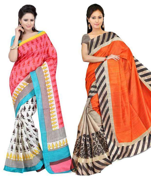 Ganpati Textile Orange & Pink Bhagalpuri Silk Saree with Blouse Piece- Pack of 2