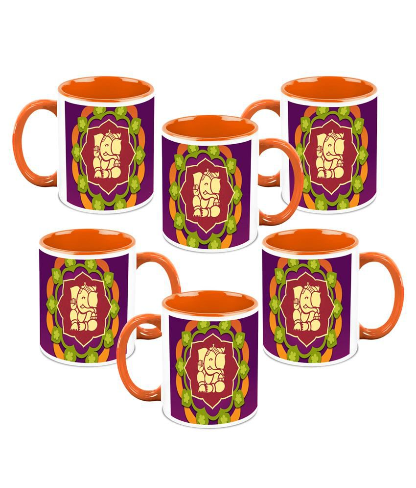 HomeSoGood Diwali Gifts For Diwali Floral Ganesha White Ceramic Coffee Mug - 325 ml (Set Of 6)