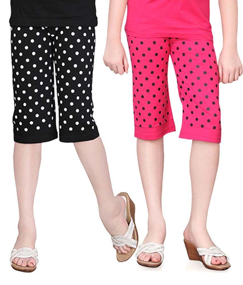 Sinimini Multicolour Cotton Capris For Girls (Set Of 2)