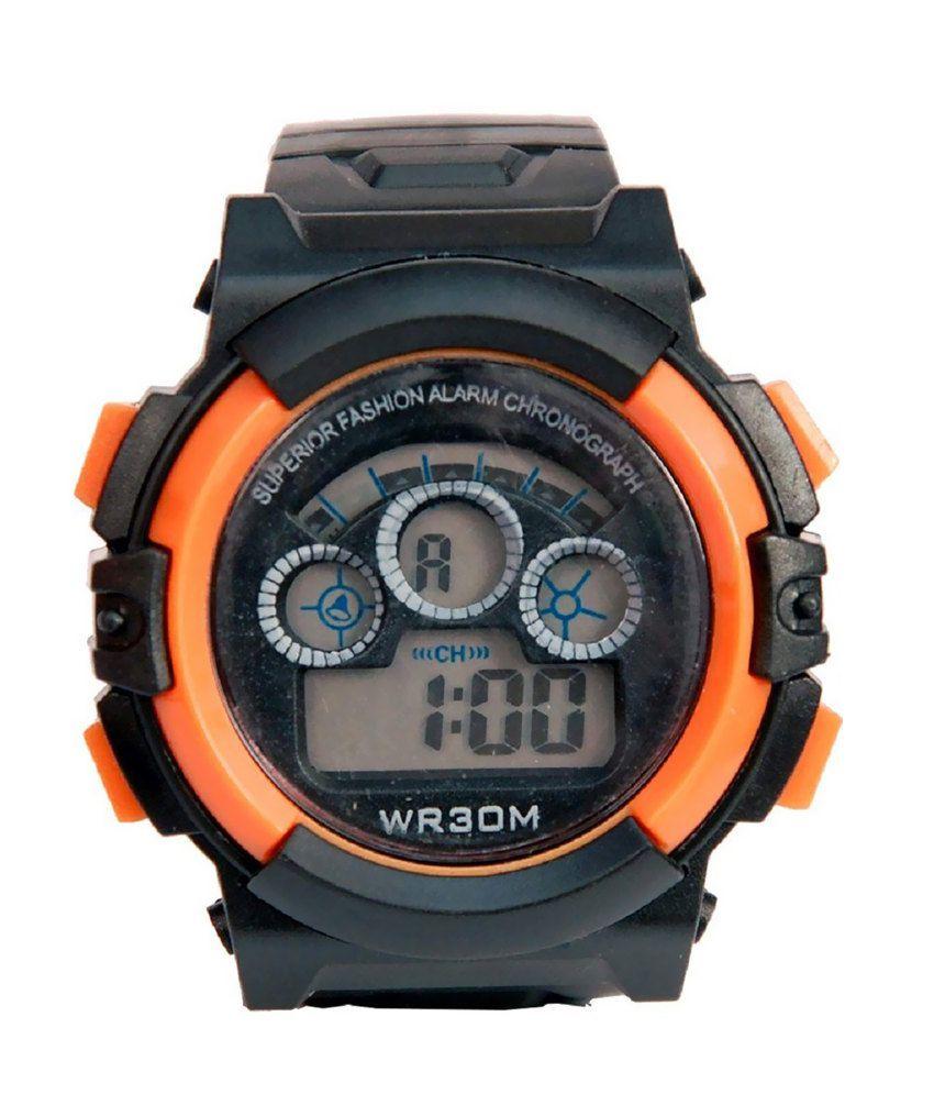 Tct Orange Rubber Digital Designer Watch