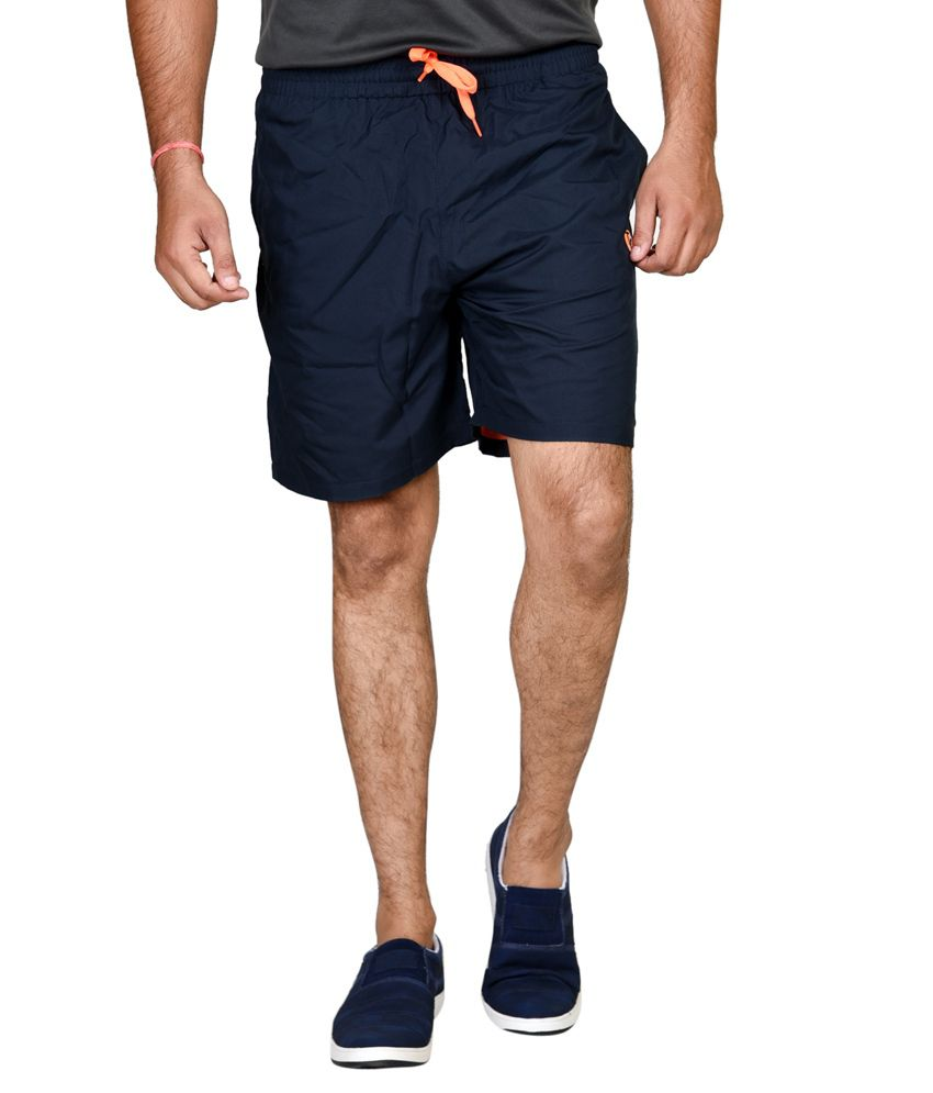 Tailor Craft Blue Polyester Solids Shorts