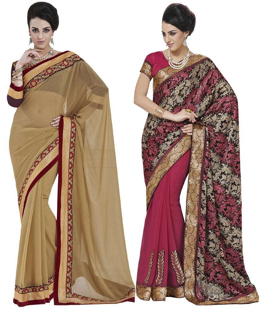 Indian Women Multicolour Chiffon Pack Of 2