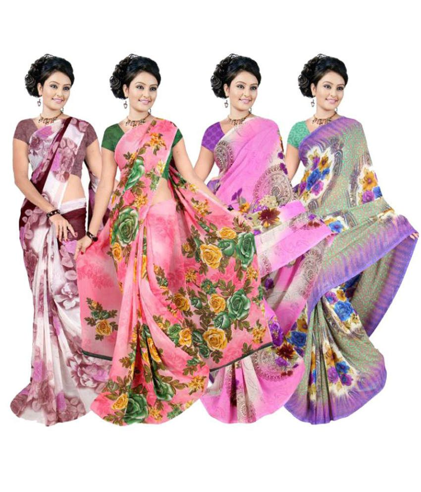 Garg Fashion Multi Colour Weightless Georgette Pack Of 4