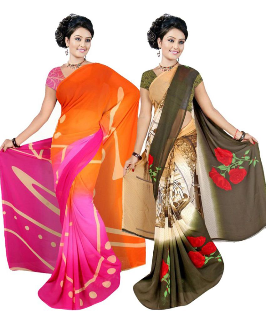 Garg Fashion Multi Colour Weightless Georgette Pack Of 2