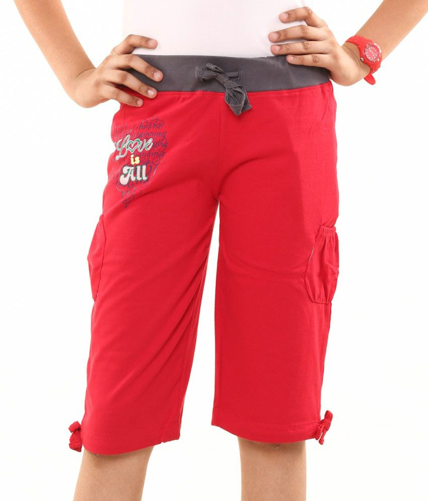 Menthol Red Cotton Shorts