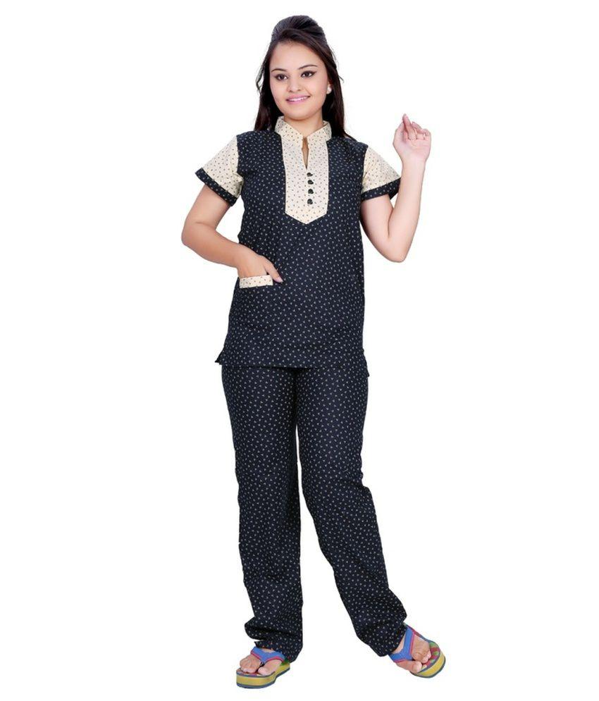 Satynam Black Cotton Nightsuit Sets