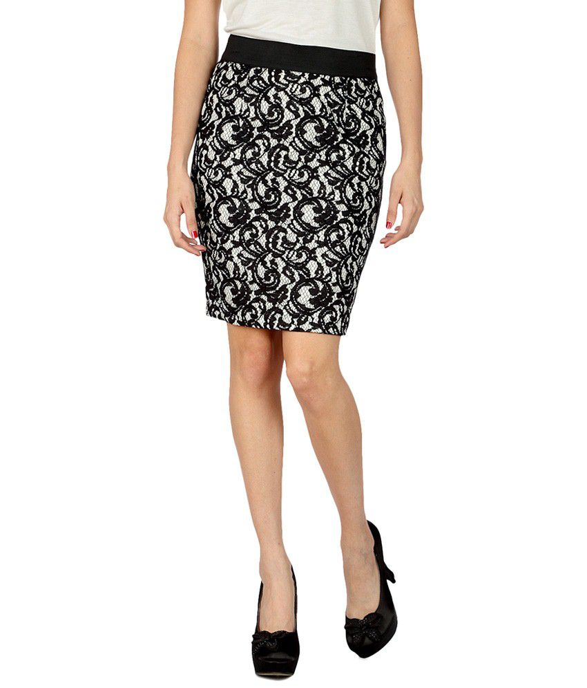 ddc7078db5 Buy Van Heusen Black & White Lace Pencil Skirt Online at Best Prices in  India - Snapdeal