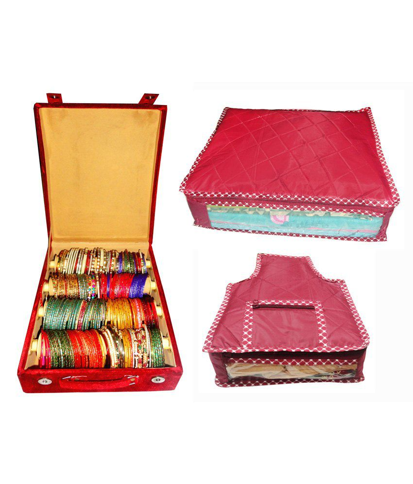 Atorakushon Combo Deal 4 Roll Rod Bangles Box 1 Saree Cover 1 Blouse Cover