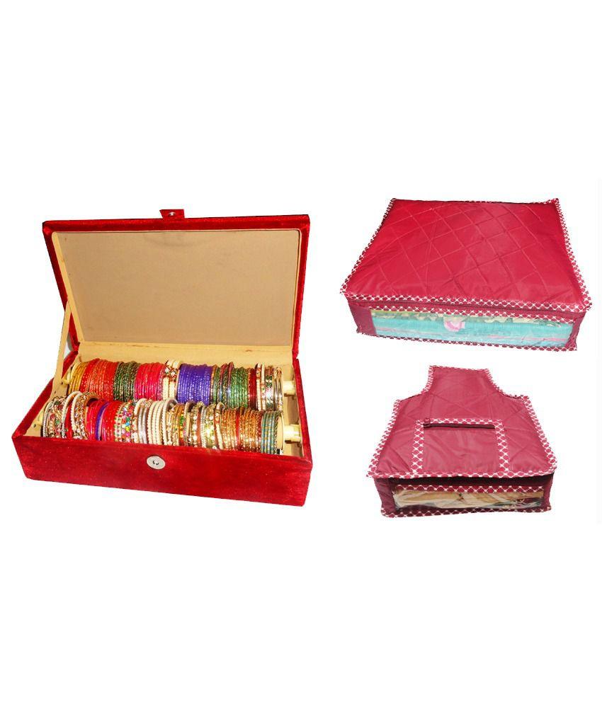 Atorakushon Combo Deal 2 Roll Rod Bangles Box 1 Saree Cover 1 Blouse Cover