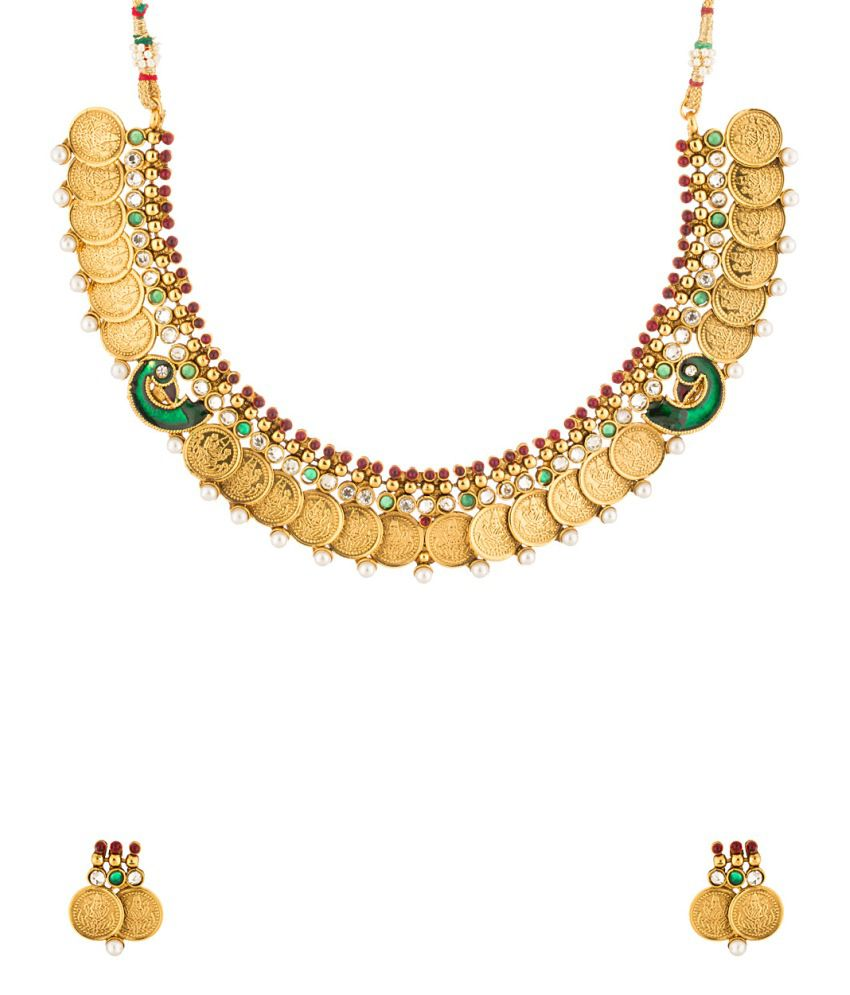 Voylla Peacock Inspired Chocker Coin Necklace set Encrusted with Pearl Beads & Red, Green & White Stones