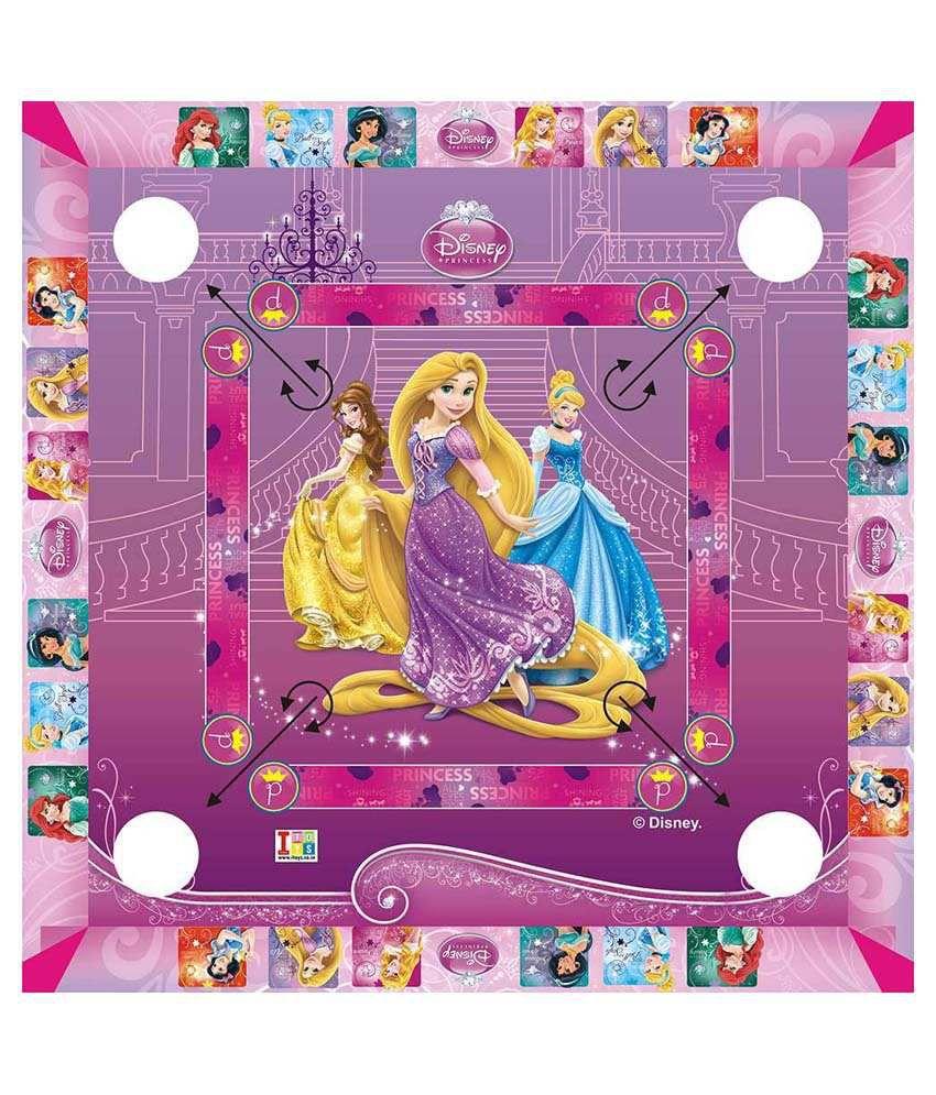 Disney Princess Carrom Board And Board Game - Multicolour