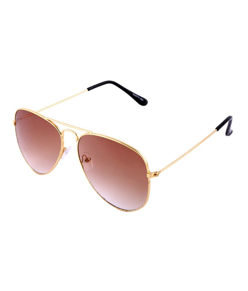 Goe World Brown Medium Unisex Aviator Sunglasses