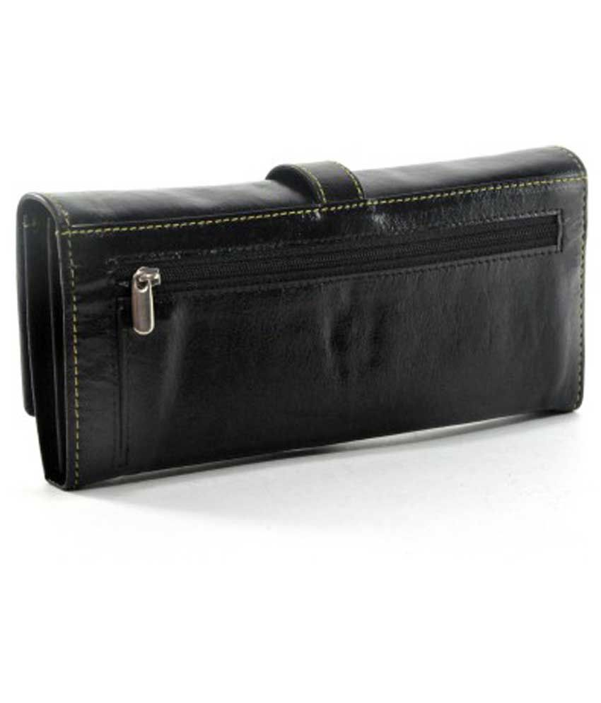 Hyfy Design Black Leather Casual Regular Wallet For Women