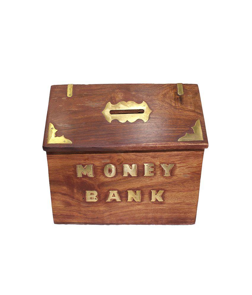 Frabjous Brown Wooden Polished Hut Shaped Money Bank