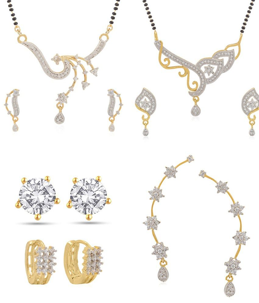 Jewels Galaxy Collection Of 2 Mangalsutra Set, 1 Star Drop Earcuff, 2 Balis - Combo Of 5