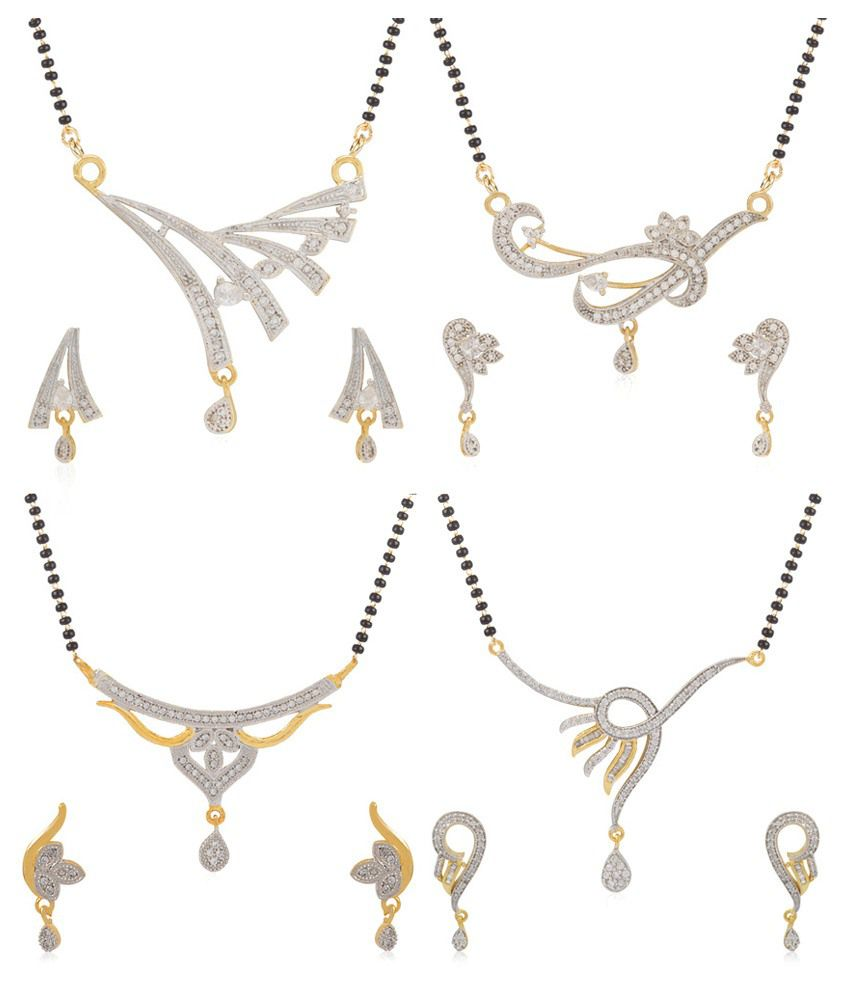 Jewels Galaxy Precious Collection Of 4 Mangalsutra Set - Combo Of 4