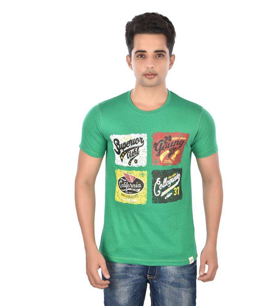 Rockstar Jeans Green Cotton Printed T-Shirt