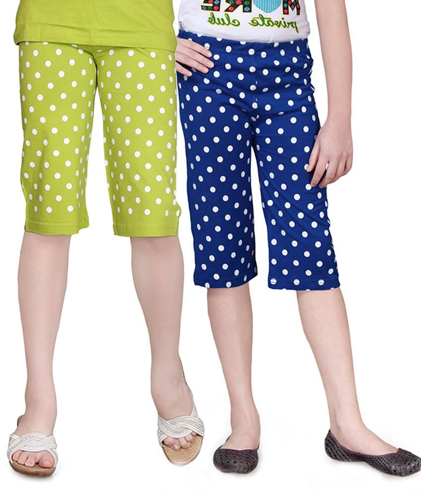 Sinimini Blue And Green Capris - Pack Of 2