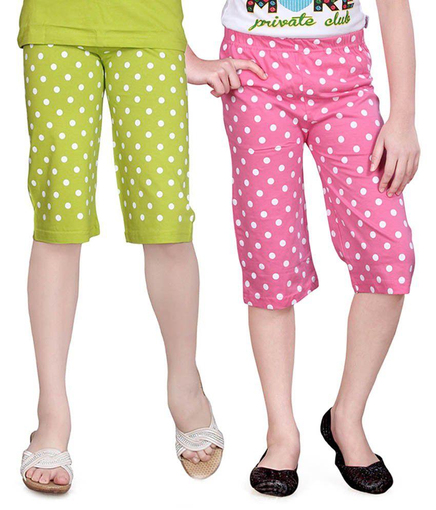 Sinimini Green And Pink Capris - Pack Of 2