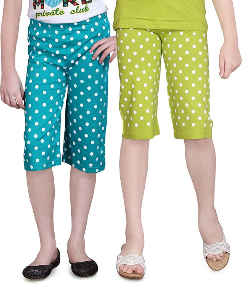 Sinimini Green And Turquois Capris - Pack Of 2