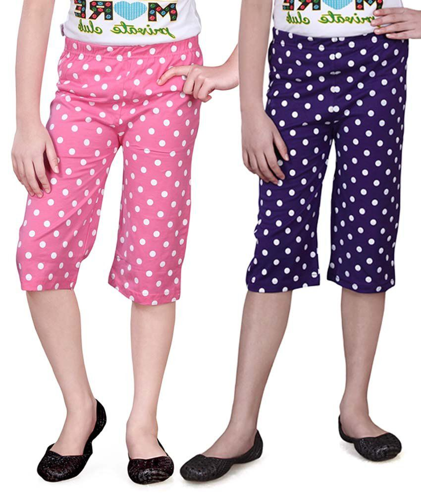 Sinimini Pink And Blue Capris - Pack Of 2