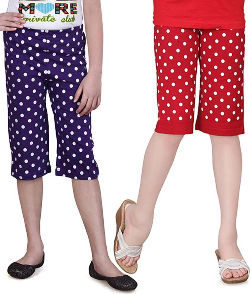 Sinimini Purple And Red Capris - Pack Of 2