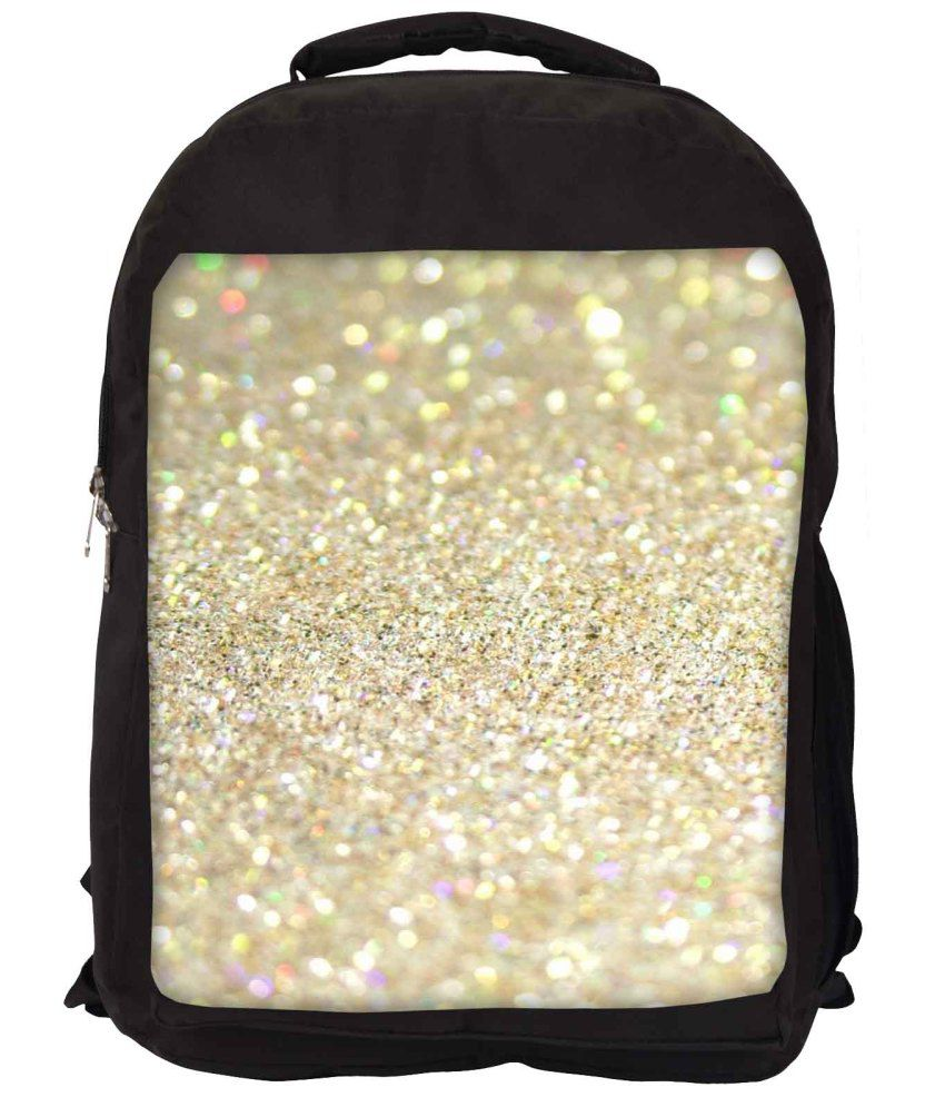 Snoogg Golden Nylon Laptop Backpack