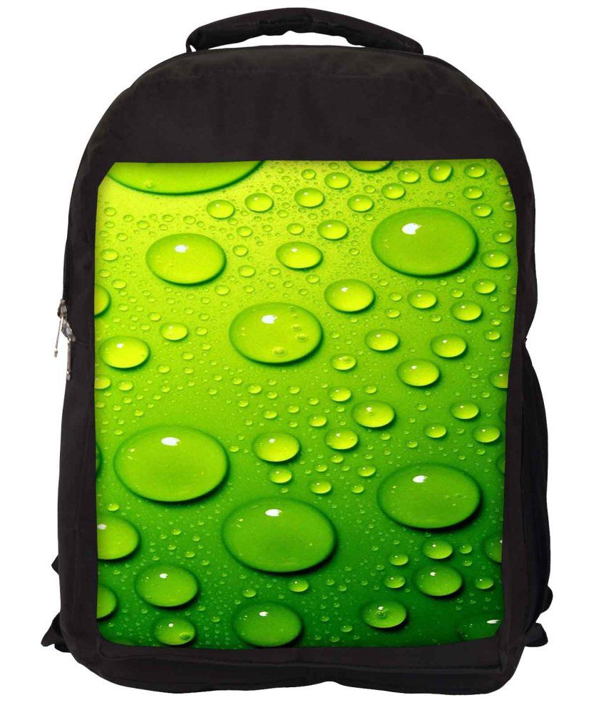 Snoogg Green Nylon Laptop Backpack