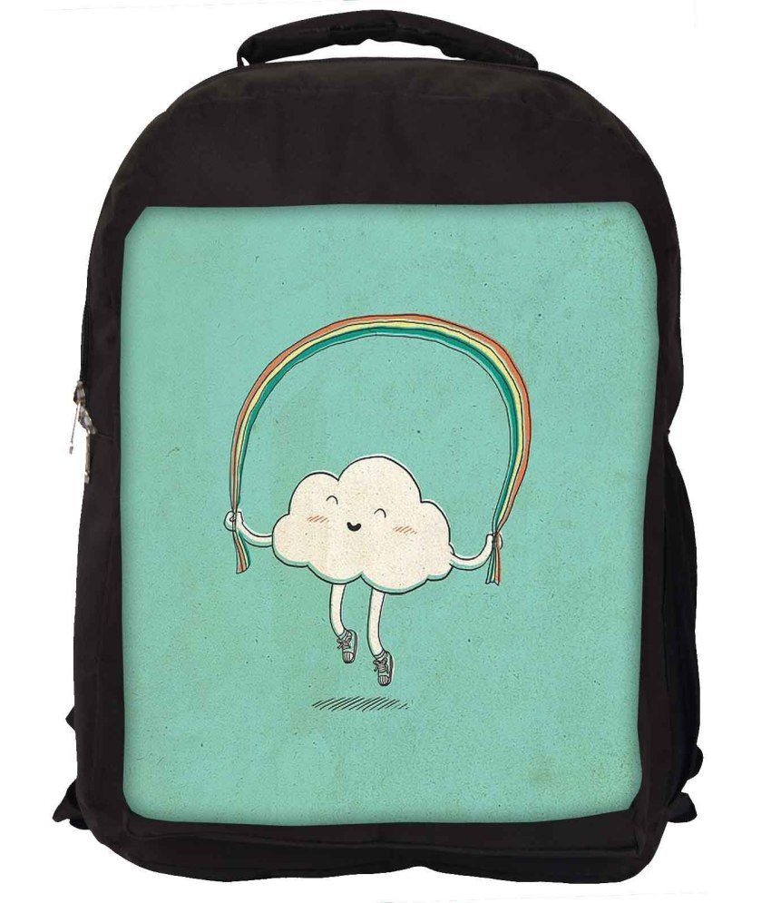 Snoogg Green and White Nylon Laptop Backpack