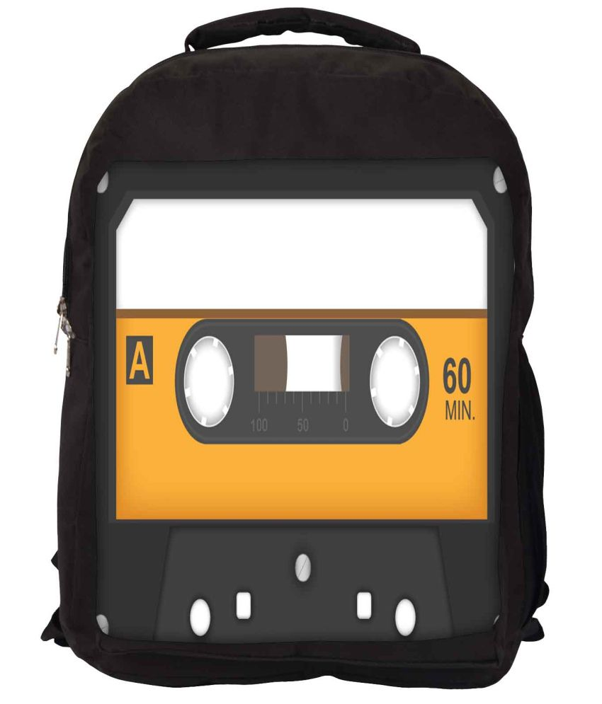 Snoogg Grey and Yellow Nylon Laptop Backpack