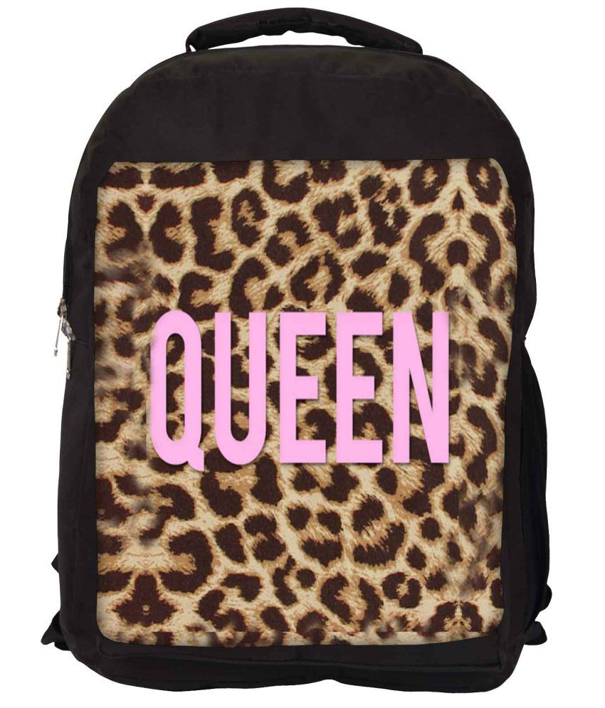 Snoogg Pink and Brown Nylon Laptop Backpack