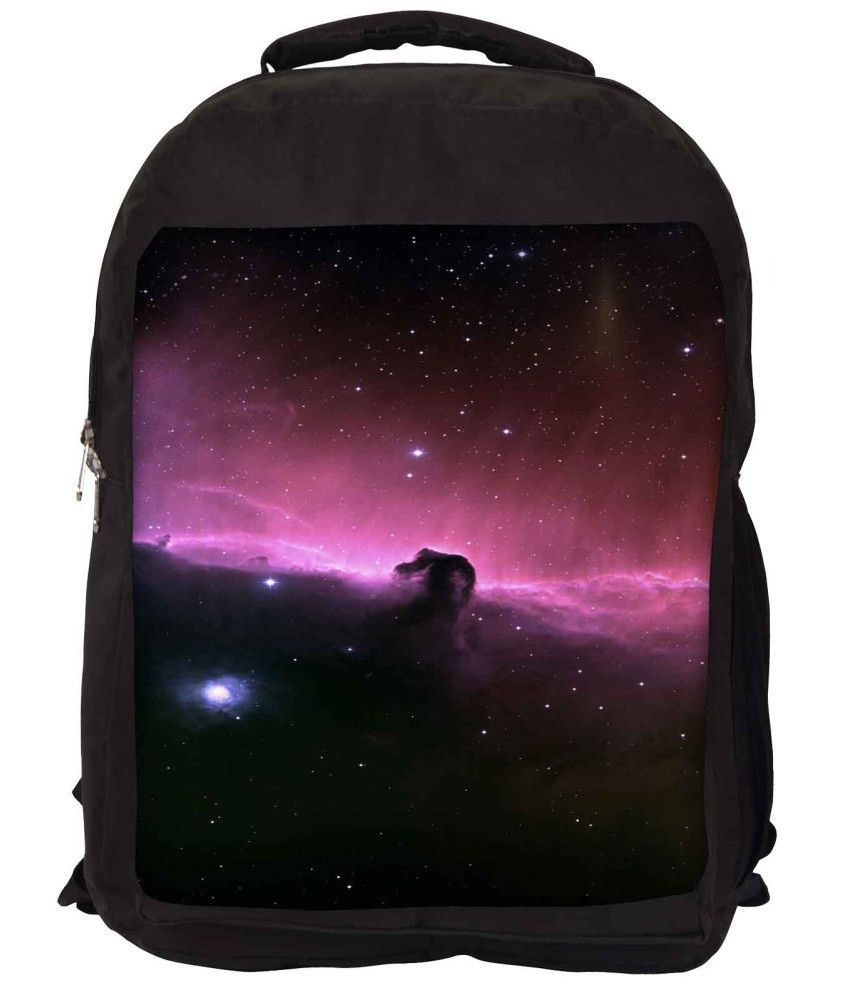 Snoogg Purple and Black Nylon Laptop Backpack